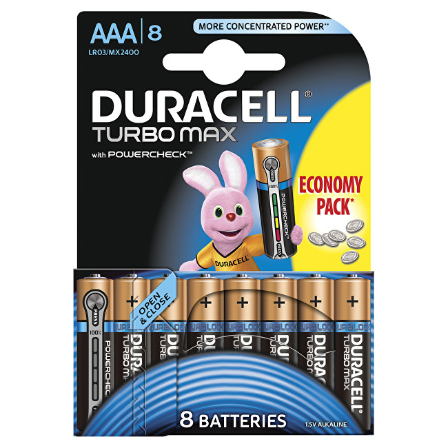 Zobrazit detail výrobku Duracell Baterie Turbo MAX AAA 2400 K8 Duralock