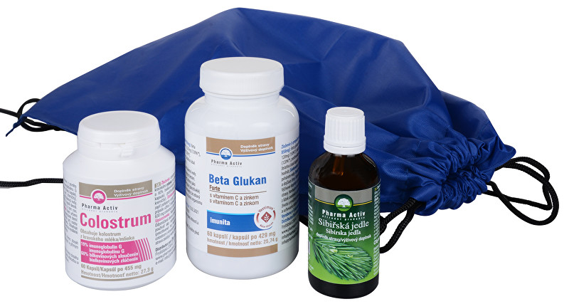 Zobrazit detail výrobku Pharma Activ Batoh + Beta Glukan FORTE 60 tablet + Colostrum 60 tablet + Sibiřská jedle olej 50 ml