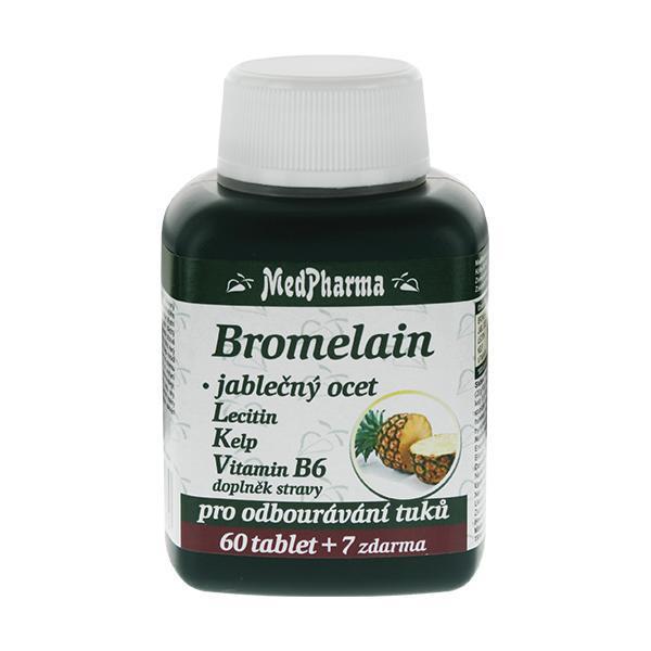 Zobrazit detail výrobku MedPharma Bromelain 300 mg + jablečný ocet + lecitin + kelp + vitamín B6 60 tbl. + 7 tbl. ZDARMA