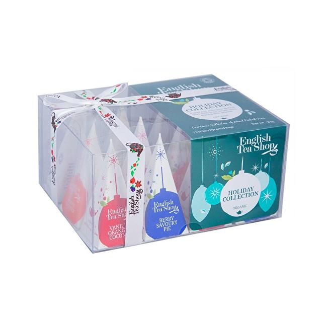 Zobrazit detail výrobku English Tea Shop Dárková vánoční krabička Zelené ozdoby BIO 12 pyramidek