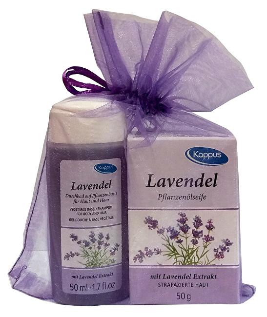 Kappus Dárkový balíček v organze Levandule (tělový šampon 50 ml, tuhé mýdlo 50 g)