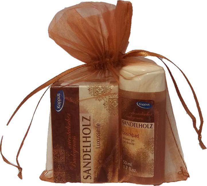 Dárkový balíček v organze Santal (tělový šampon 50 ml, tuhé mýdlo 50 g)