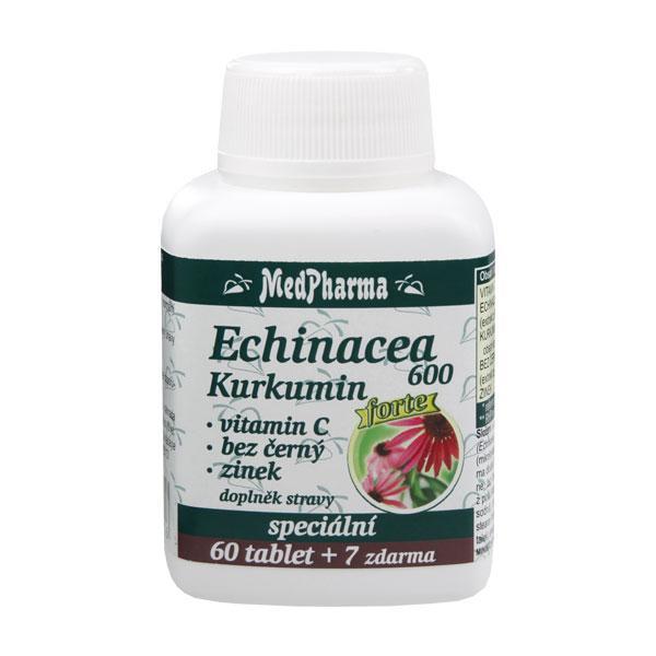 Zobrazit detail výrobku MedPharma Echinacea 600 Forte + kurkumin + vitamín C + bez černý + zinek 60 tbl. + 7 tbl. ZDARMA