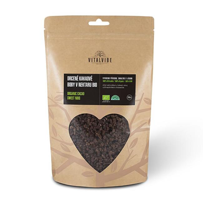 Vitalvibe Drcené kakaové boby v nektaru Bio 250 g
