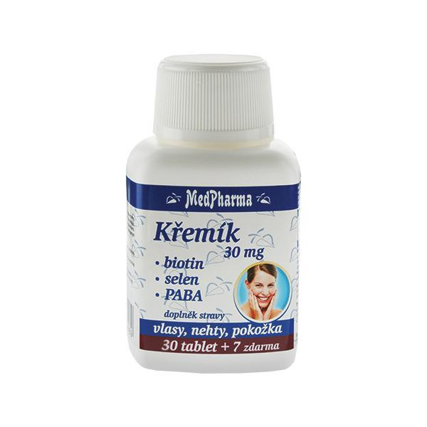 Křemík 30 mg + biotin + selen + PABA 30 tob. + 7 tob. ZDARMA