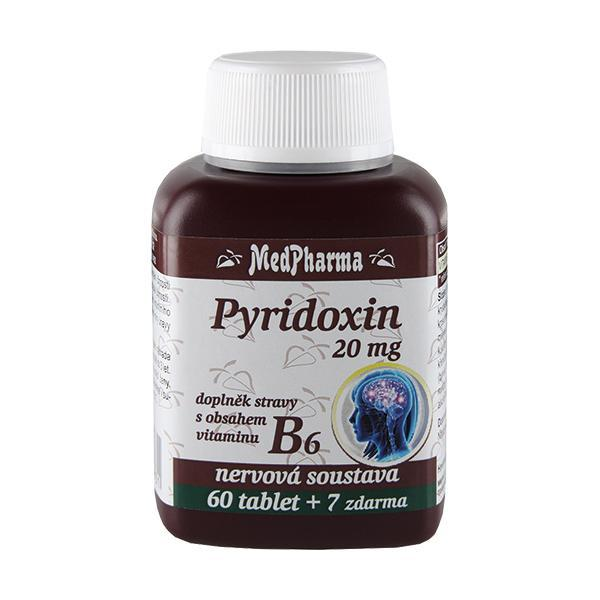 Zobrazit detail výrobku MedPharma Pyridoxin 20 mg – doplněk stravy s obsahem vitamínu B6 60 tbl. + 7 tbl. ZDARMA