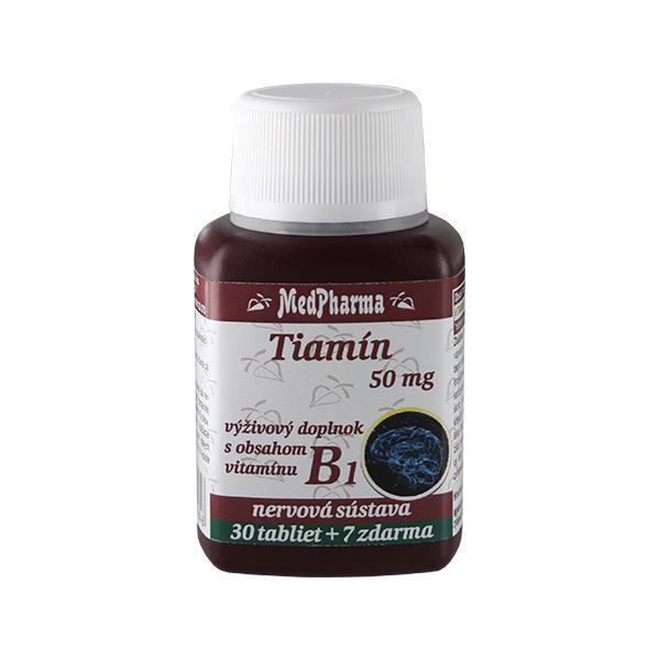 Zobrazit detail výrobku MedPharma Thiamin 50 mg – doplněk stravy s obsahem vitamínu B1 30 tbl. + 7 tbl. ZDARMA