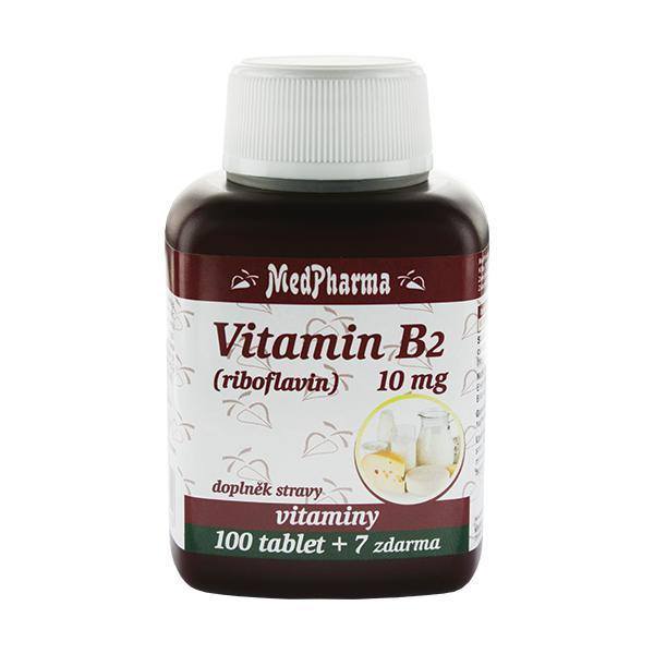 Zobrazit detail výrobku MedPharma Vitamín B2 (riboflavin) 10 mg 100 tbl. + 7 tbl. ZDARMA