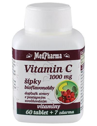 Zobrazit detail výrobku MedPharma Vitamín C 1000 mg s šípky prodloužený účinek 60 tbl. + 7 tbl. ZDARMA