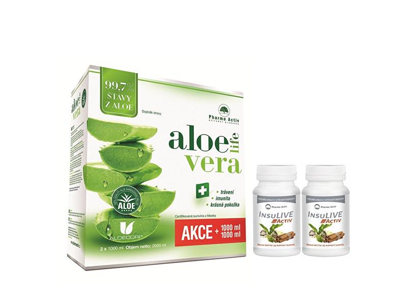 Zobrazit detail výrobku Pharma Activ AloeVeraLife 1+1 ZDARMA (1000 ml + 1000 ml) + 2 x InsuLive 55 kapslí