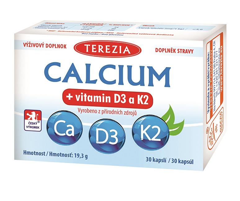 Calcium + vitamin D3 a K2 30 kapslí