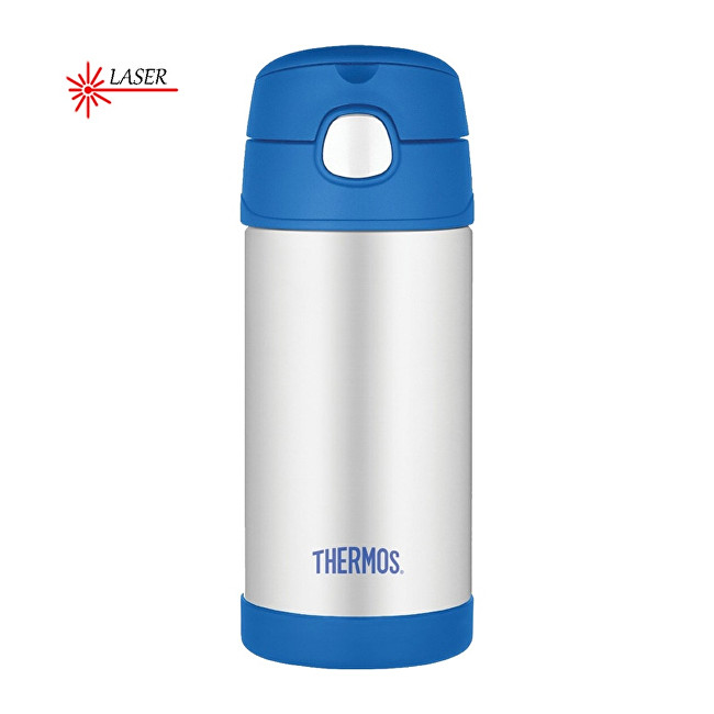 FUNtainer Dětská termoska s brčkem - stříbrná/modrá 355 ml