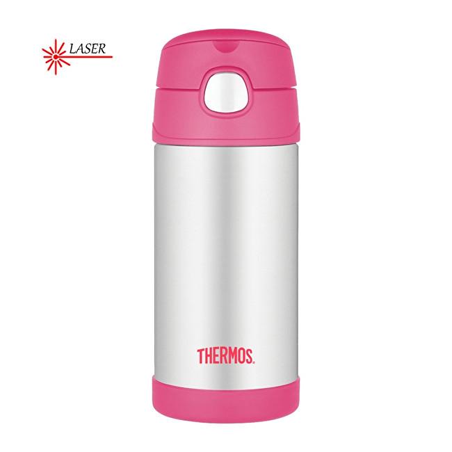 Thermos FUNtainer Detská termoska s slamkou - strieborná / ružová 355 ml