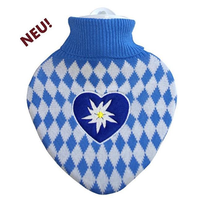 """Klasický termofor ve tvaru srdce s pleteným obalem """"Bavaria"""""""