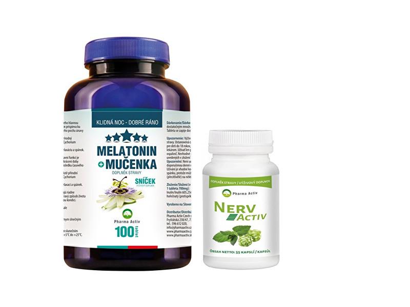 Zobrazit detail výrobku Pharma Activ Melatonin Mučenka 100 tbl. + Nerv Activ 55 kapslí