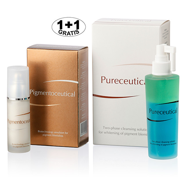 Pigmentoceutical - biotechnologická emulze na pigmentové skvrny 30 ml + Pureceutical - dvojfázový čistící roztok 125 ml (1 + 1 zdarma)