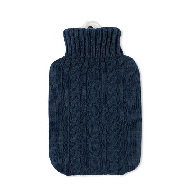 Hugo-Frosch Termofor Classic s modrým pleteným obalem