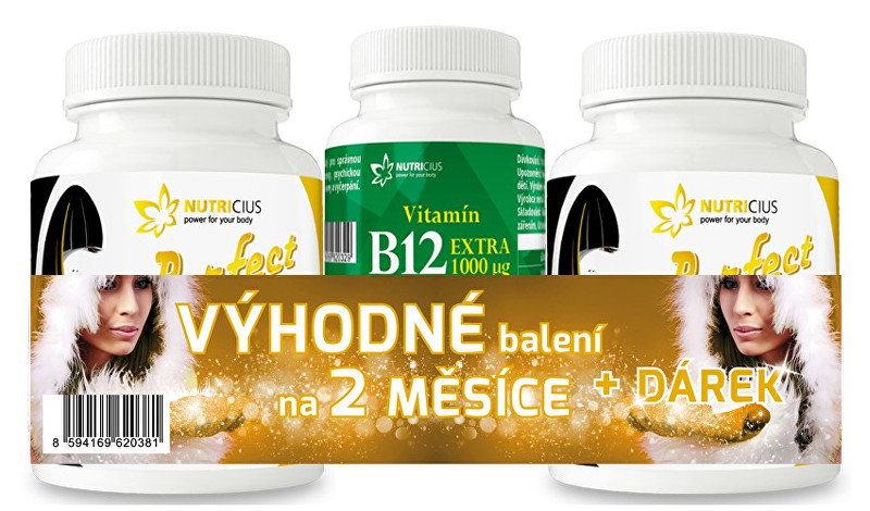 Zobrazit detail výrobku Nutricius VÁNOČNÍ BALENÍ 2x Perfect HAIR gold 90 tablet + Vitamín B12 30 tablet zdarma