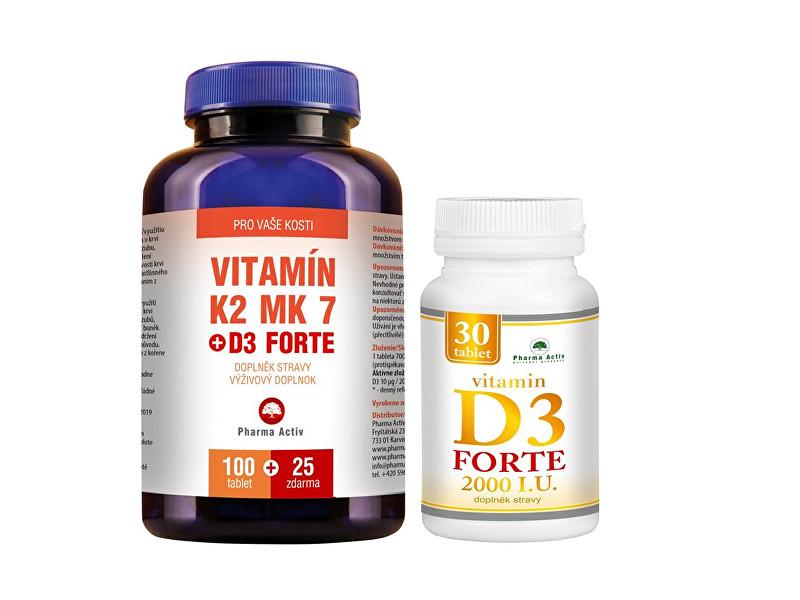 Zobrazit detail výrobku Pharma Activ Vitamín K2 MK7 + D3 FORTE 125 tbl. + Vitamín D3Forte 30 tbl. ZDARMA