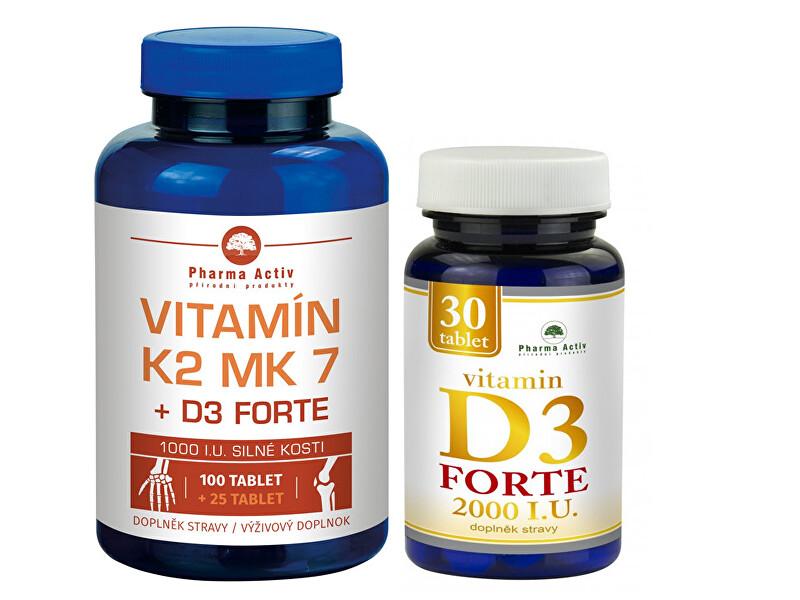 Zobrazit detail výrobku Pharma Activ Vitamín K2 MK7 + D3 FORTE 125 tbl. + Vitamín D3Forte 30 tbl.