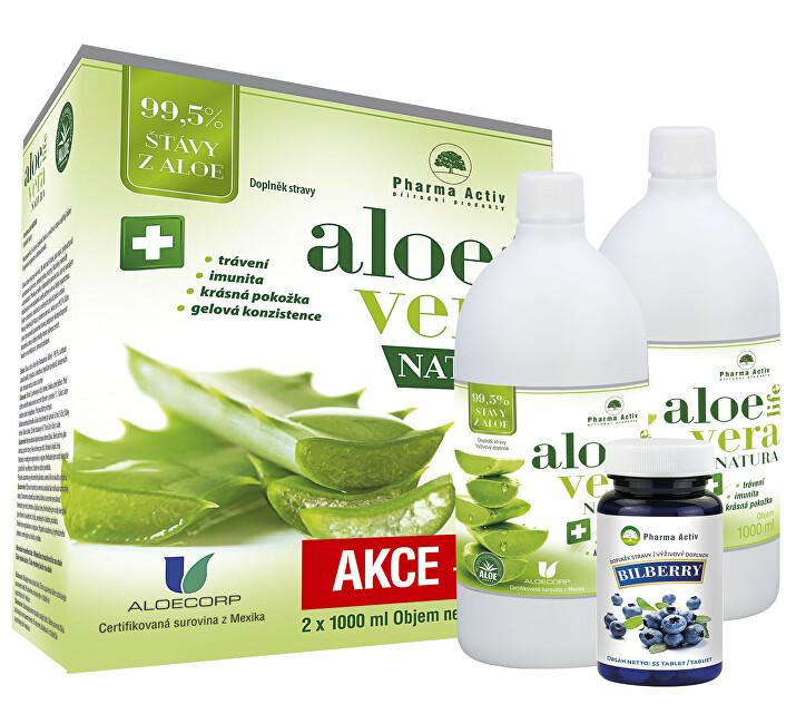 Zobrazit detail výrobku Pharma Activ AloeVeraLife 1+1 ZDARMA (1000 ml + 1000 ml) + Bilberry 55 tablet