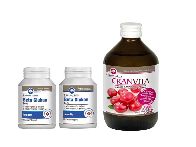 Zobrazit detail výrobku Pharma Activ Beta Glukan Forte 1+1 60 tablet + Cranvita 500 ml