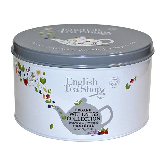 Zobrazit detail výrobku English Tea Shop Dárková kulatá bílá plechovka – kolekce Wellness - 30 pyramidek