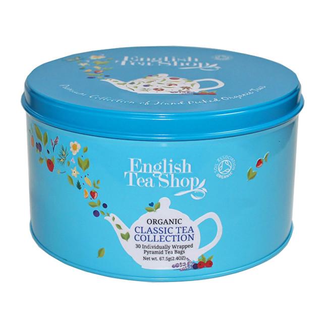 Zobrazit detail výrobku English Tea Shop Dárková kulatá modrá plechovka – BIO klasické čaje – 30 pyramidek