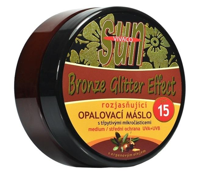 Zobrazit detail výrobku Vivaco Sun Bronze Argan Gliter opalovací máslo SPF15 200 ml