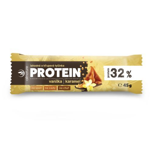 Allnature Proteinová křupavá tyčinka 32% vanilka a karamel 45 g