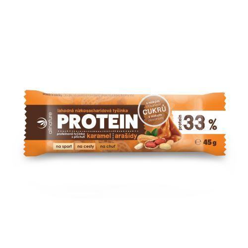 Zobrazit detail výrobku Allnature Proteinová nízkosacharidová tyčinka 33% karamel a arašídy 45 g