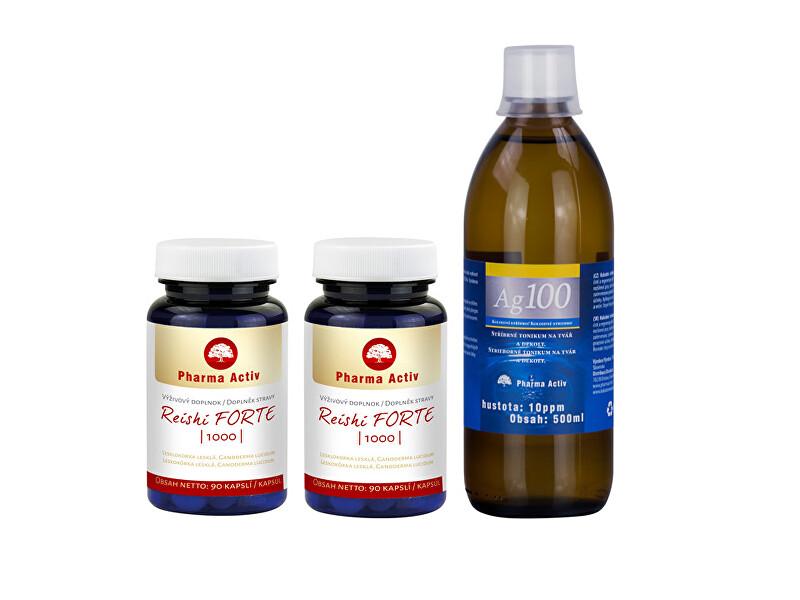 Zobrazit detail výrobku Pharma Activ Reishi FORTE 1000 90 tablet 1+1 + Ag100 10ppm 500 ml