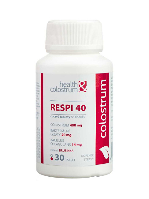 Health&colostrum RESPI 40 (400 mg) + bakteriální lyzáty - příchuť brusinka 30 cucavých tbl.