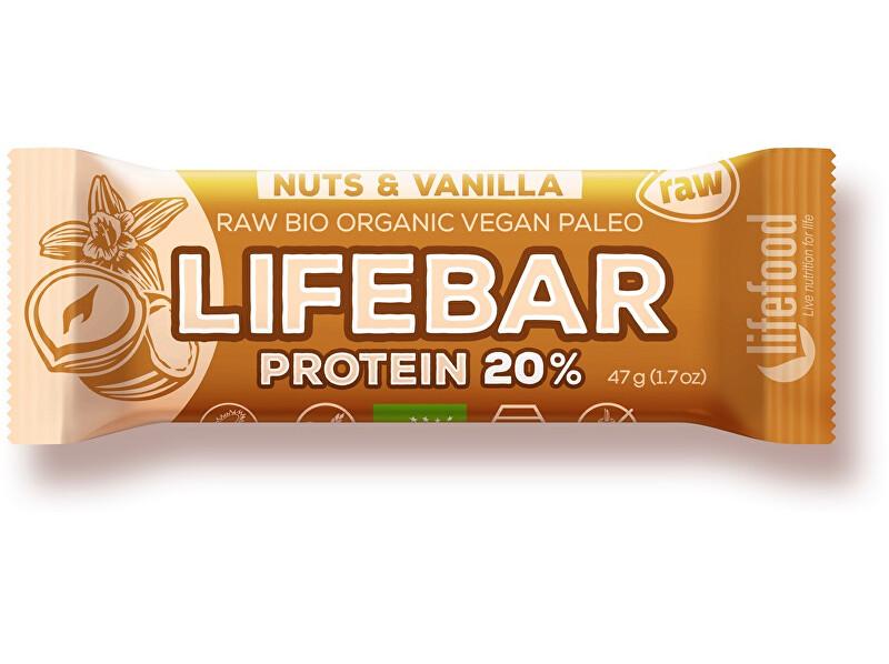Lifefood Bio tyčinka Lifebar protein Vanilla nuts 47g
