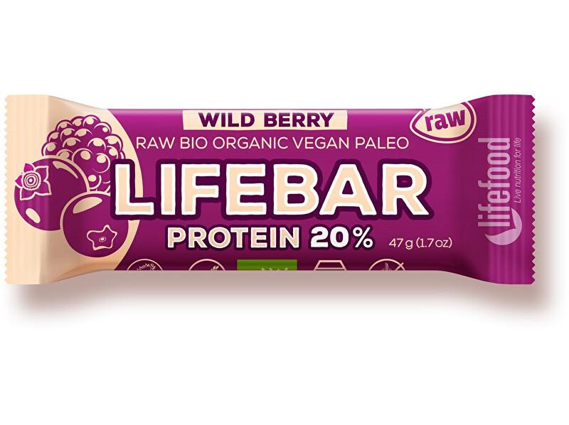 Lifefood Bio tyčinka Lifebar protein Wild berry 47g
