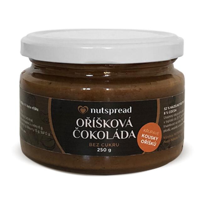 Nutspread Oříšková čokoláda - lískooříškové máslo s kešu, kakaem a kousky oříšků Nutspread 250 g