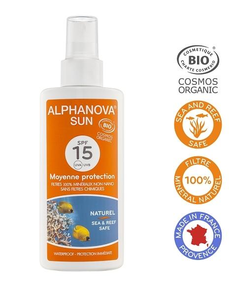 Alphanova Montbrun Opalovací krém ve spreji SPF 15 BIO 125 g