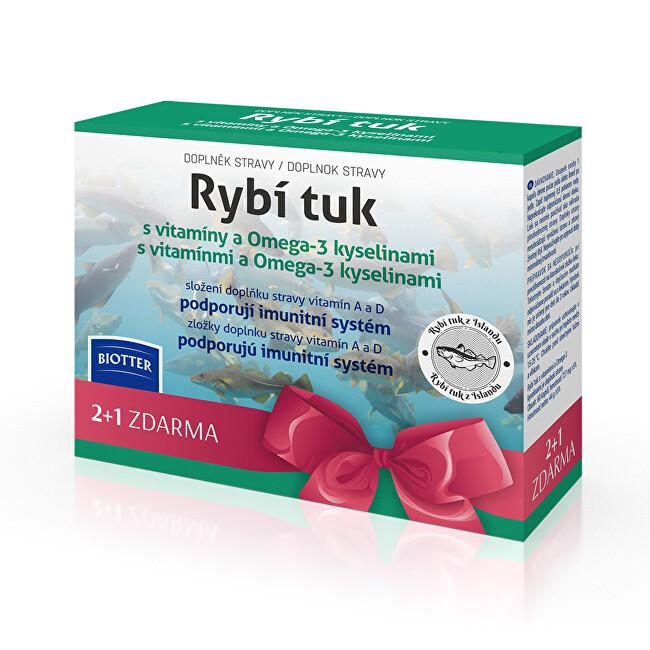 Biotter Pharma Rybí tuk s vitamínmi a Omega-3 kyselinami 3 x 60 pastiliek