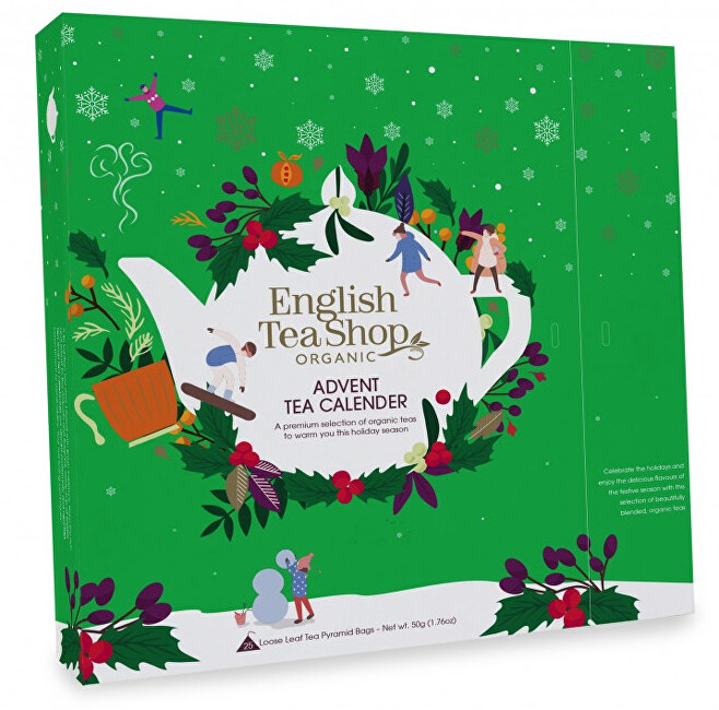 Zobrazit detail výrobku English Tea Shop Adventní kalendář Zelený, ETS25 pyramidek, 13 příchutí