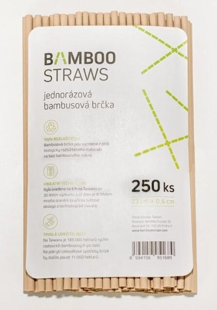 Bamboo Europe Bambusové brčko 6 mm x 23 mm bag 250 ks