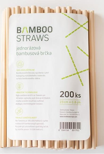 Bamboo Europe Bambusové brčko 8 mm x 23 mm bag 200 ks