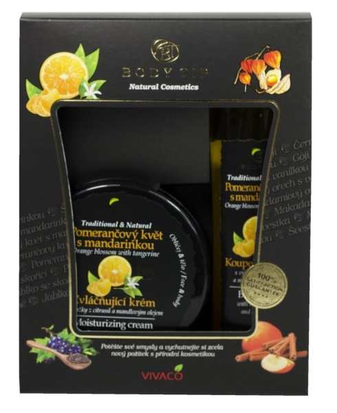 Body tip Dárková kazeta Pomerančový květ s mandarinkou - Zvláčňující krém 200 ml + Pěna do koupele 200 ml