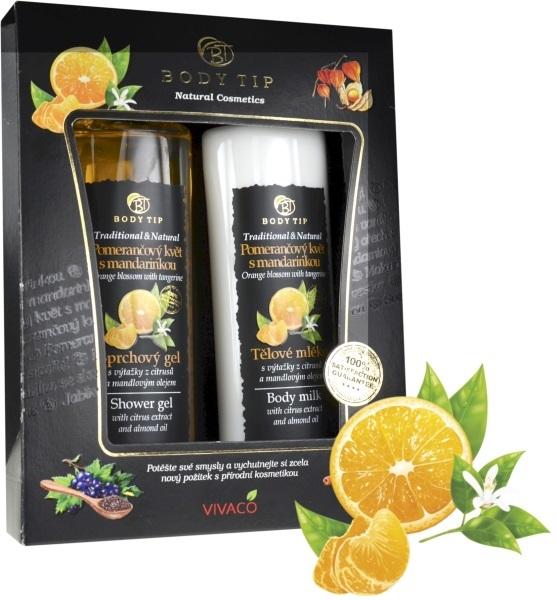 Body tip Dárková kazeta Pomerančový květ s mandarinkou- sprchový gel 200 ml, tělové mléko 200 ml