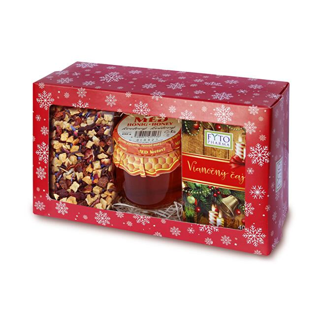 Fytopharma Darčeková kazeta Vianočné čaju sypaný 100 g + porciovaný 20 x 2 g + med 250 g