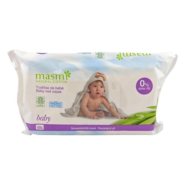 Zobrazit detail výrobku Masmi Dětské vlhčené ubrousky z organické bavlny 60 ks
