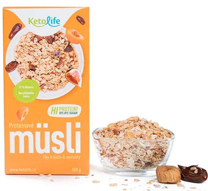 KetoLife Proteinové müsli - Fíky, datle a meruňky 500 g