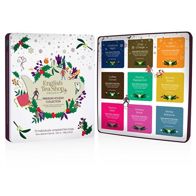 Zobrazit detail výrobku English Tea Shop Vánoční plechová kazeta bílá prémiová, 72 nál. sáčků
