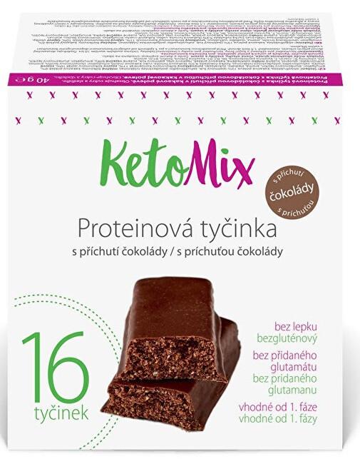 Zobrazit detail výrobku KetoMix Proteinové tyčinky s příchutí čokolády 16 x 40 g