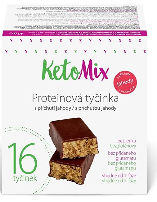 Zobrazit detail výrobku KetoMix Proteinové tyčinky s příchutí jahody 16 x 40 g