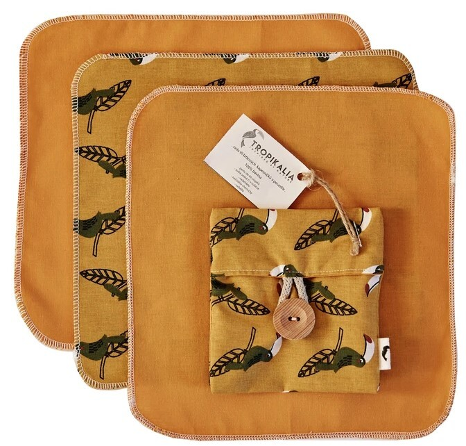 Zobrazit detail výrobku Tropikalia Sada 3 bavlněných kapesníčků v látkovém pouzdře